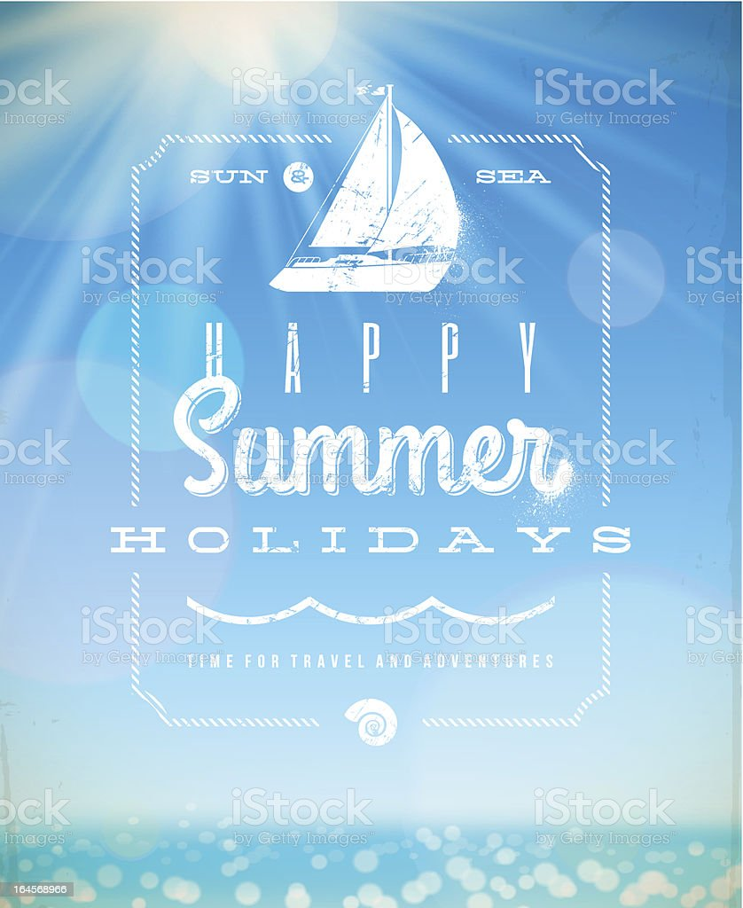 Summer holiday lettering emblem with yacht vector art illustration