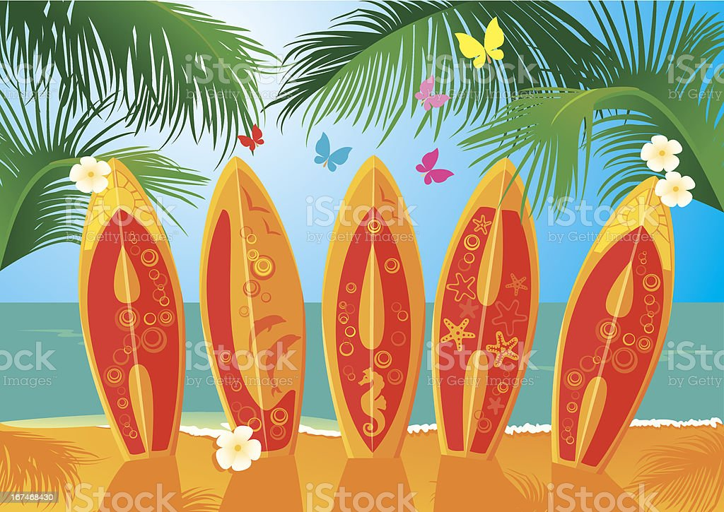 Summer Holiday Postcard - surf boards with text Aloha royalty-free stock vector art