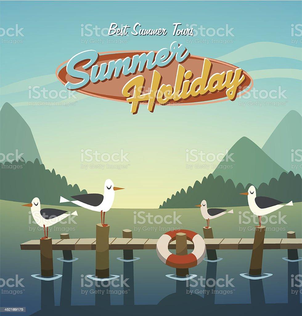 Summer holiday. Retro background vector art illustration