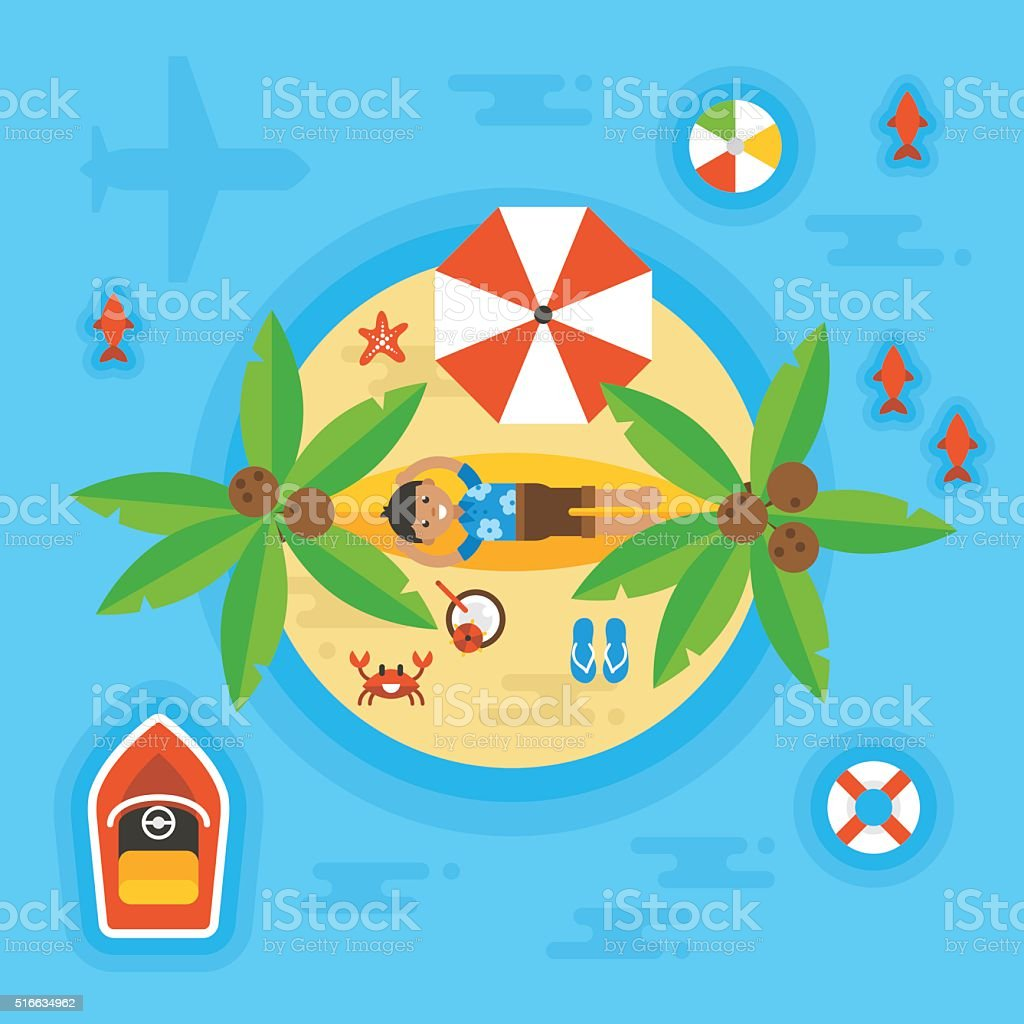 Summer holiday vacation concept with man on desert island. vector art illustration