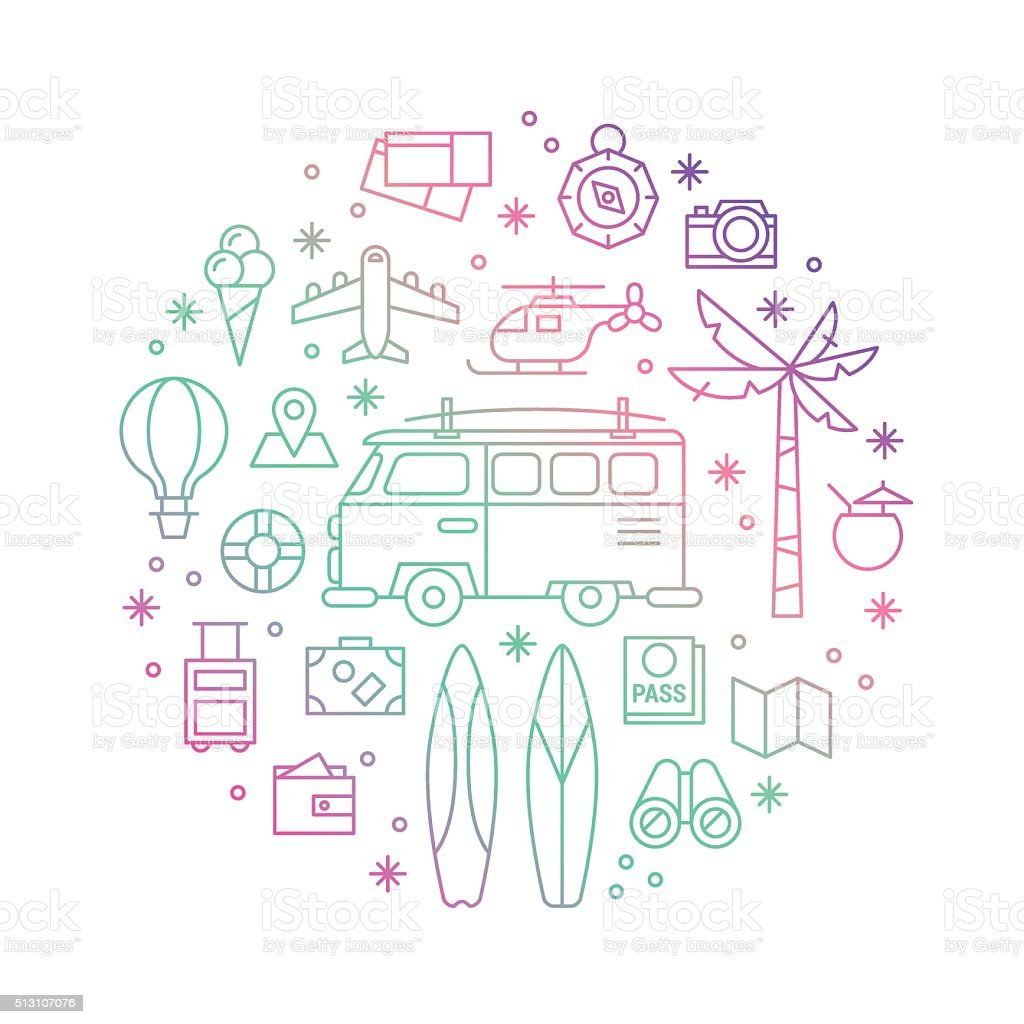 Summer holiday vacation concept with trendy thin kine icons vector art illustration