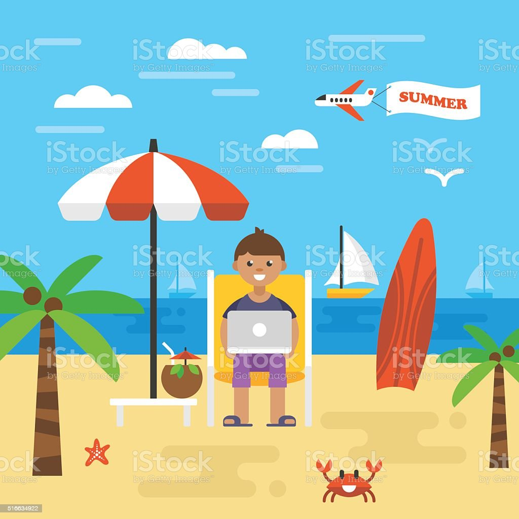 Summer holiday vacation with freelancer working on beach. Icons vector art illustration