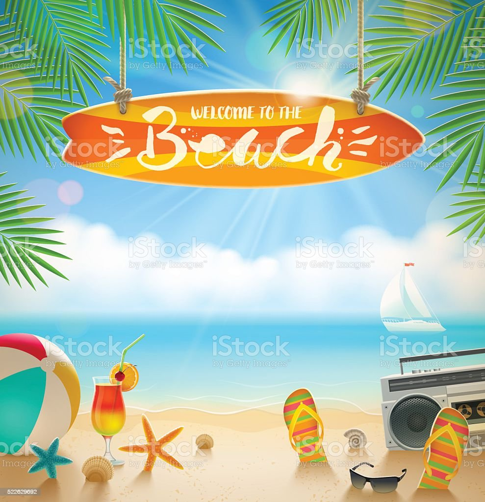 Summer holidays and beach vacation vector illustration. vector art illustration