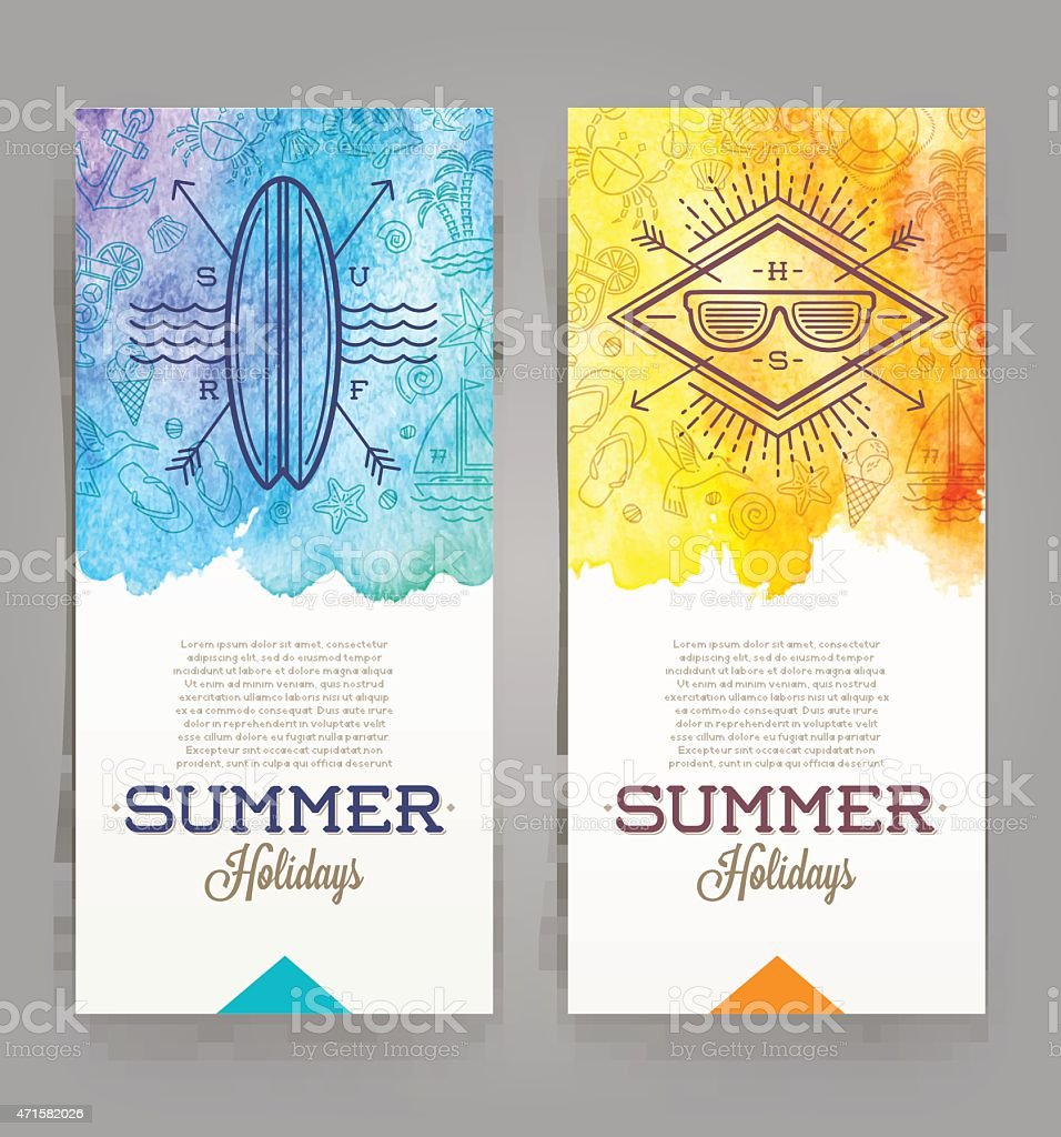 Summer holidays and travel banners with line drawing hipster emblems vector art illustration