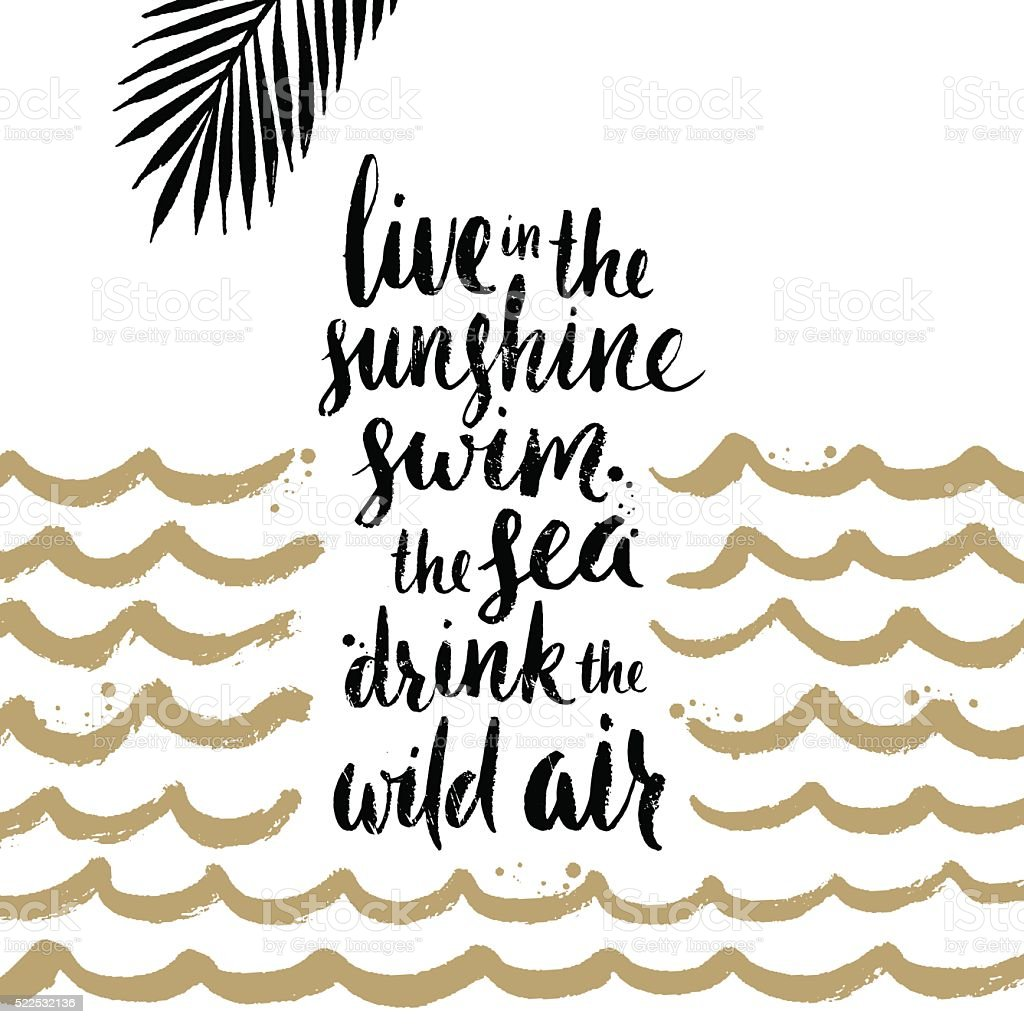 Summer holidays and vacation hand drawn illustration. Handwritten calligraphy quotes. vector art illustration