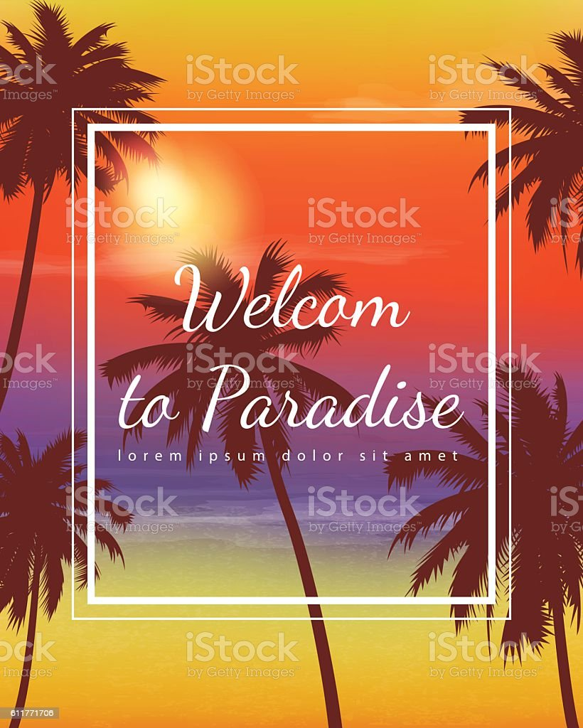 Summer holidays background. Exotic landscape with palm trees. Vector vector art illustration