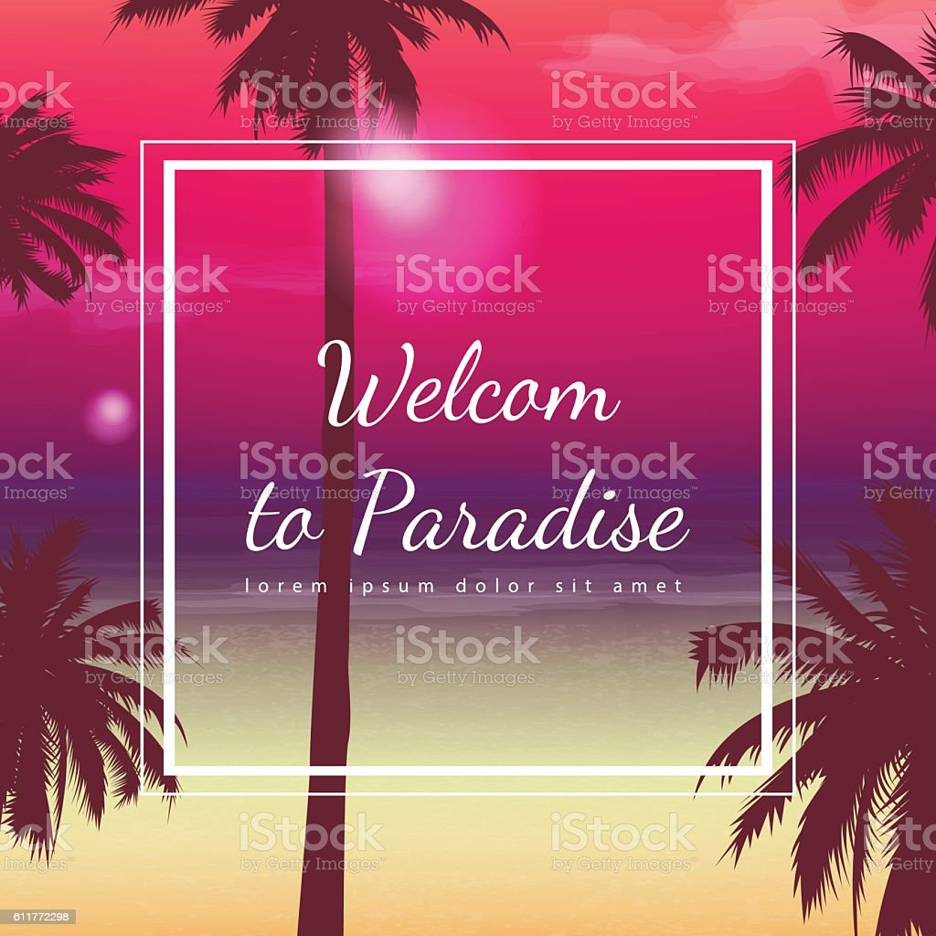 Summer holidays background. Exotic landscape with palm trees. Vector royalty-free stock vector art