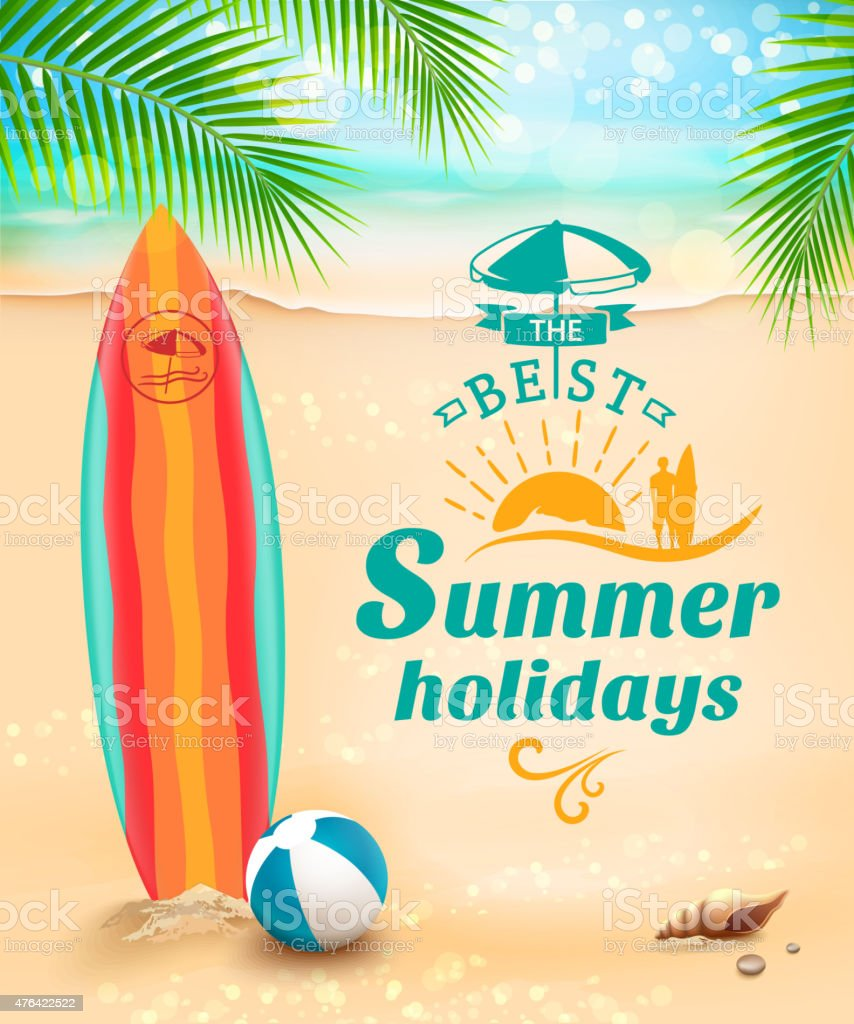 Summer holidays background - surfboard on against beach and waves vector art illustration
