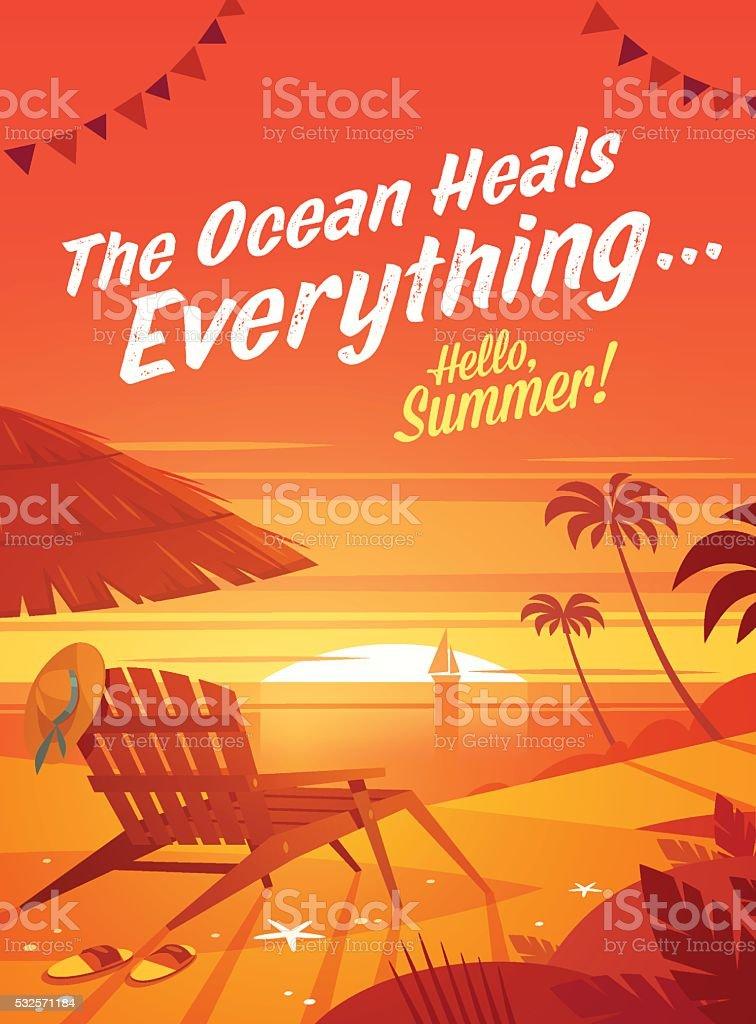 Summer Holidays. Beach resort lounge chair with umbrella. Sunset oceanview. vector art illustration