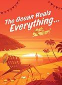 Summer Holidays. Beach resort lounge chair with umbrella. Sunset oceanview.