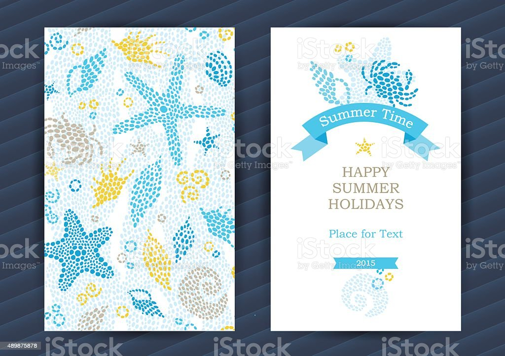 Summer Holidays cards with sea elements. vector art illustration