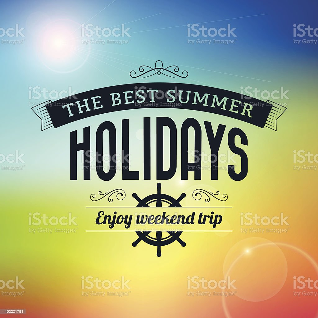 Summer holidays enjoy weekend trip typography poster royalty-free stock vector art