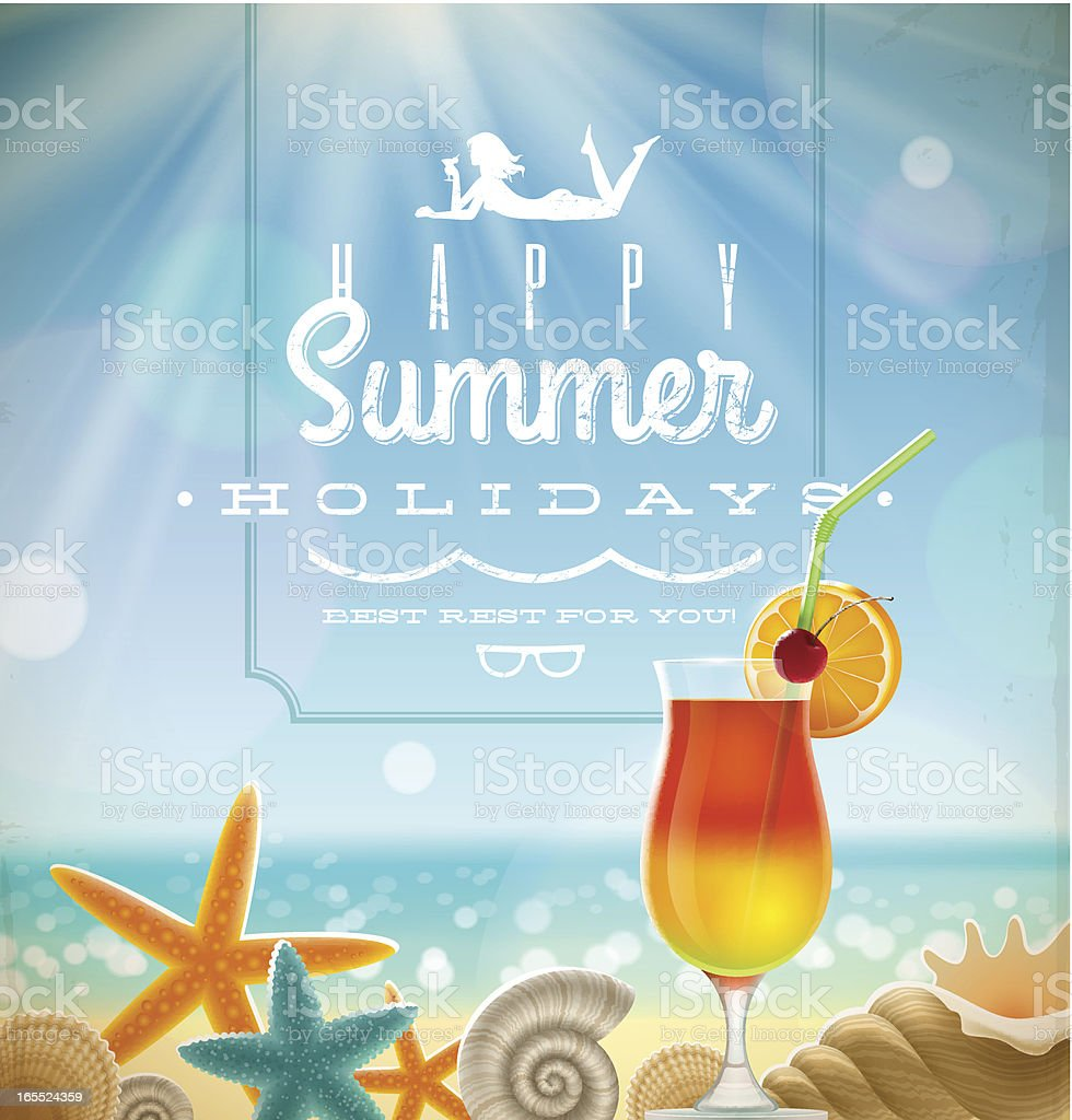 Summer holidays illustration with lettering emblem royalty-free stock vector art