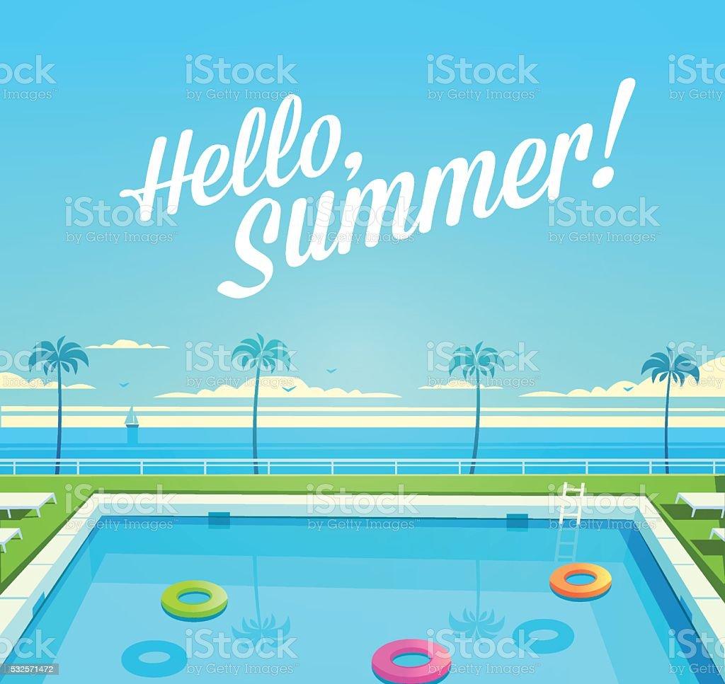 Summer Holidays objects. vector art illustration