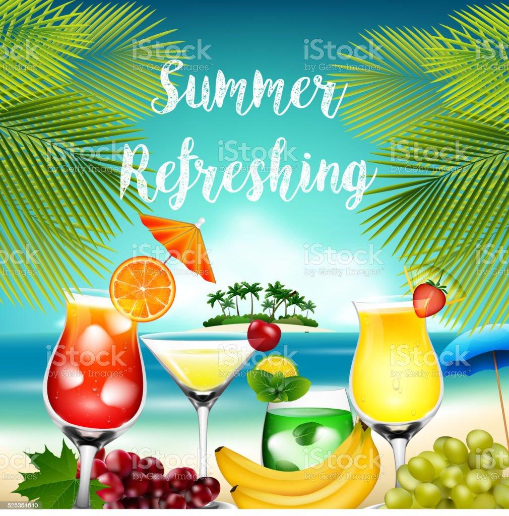 Summer holidays on beach vector art illustration