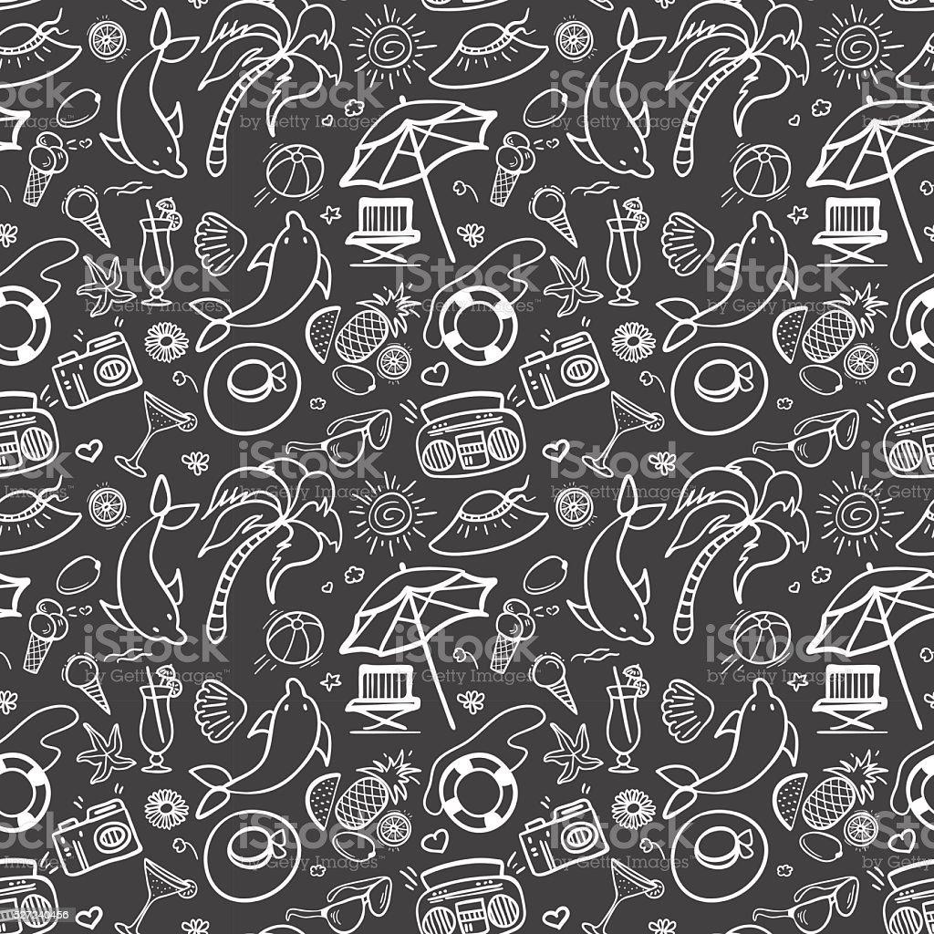 Summer holidays seamless pattern vector art illustration