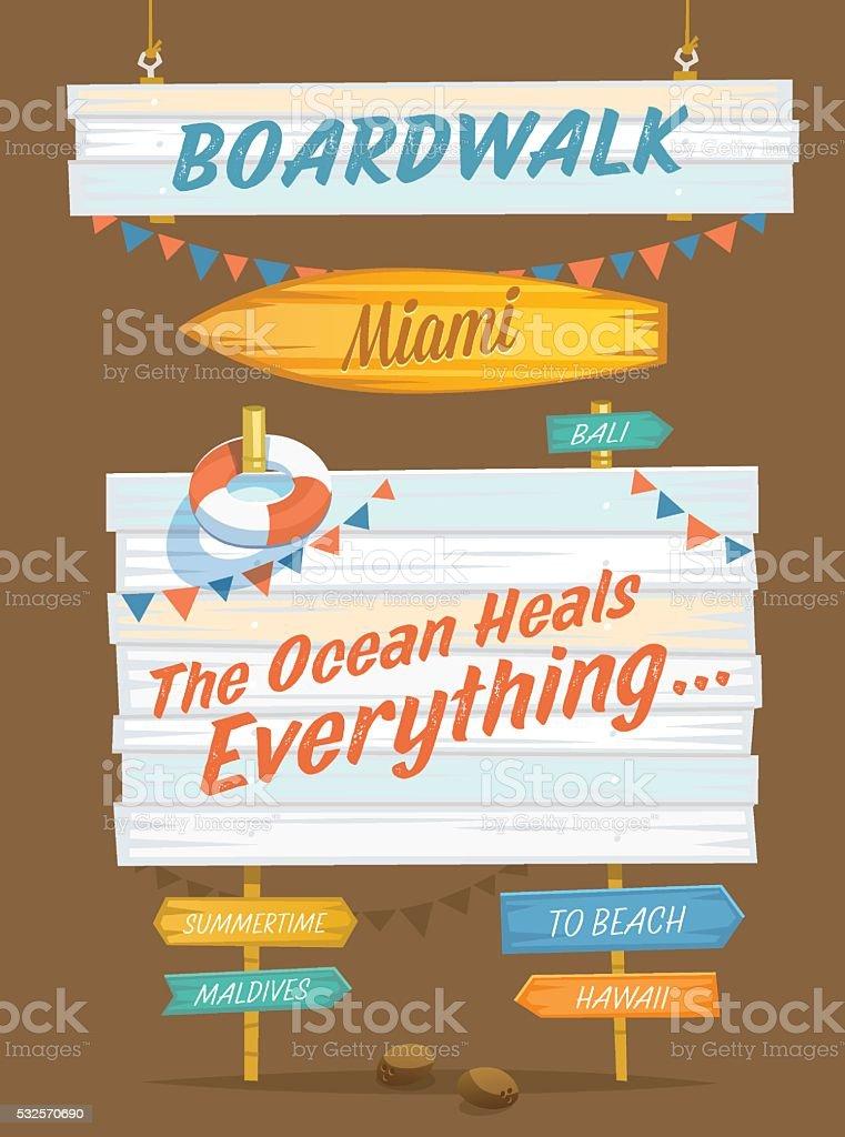Summer Holidays. Set of wooden signs vector art illustration