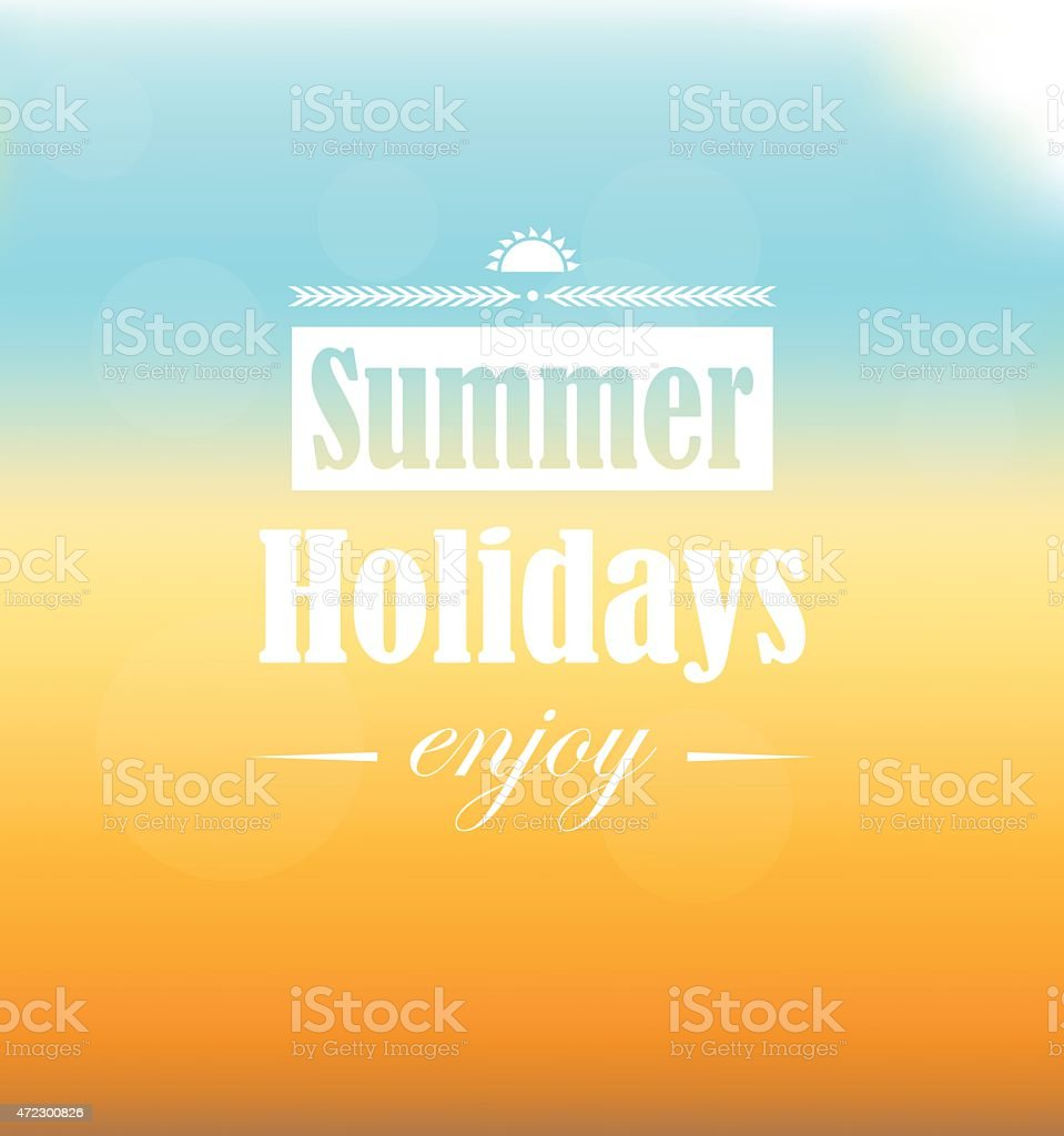 Summer Holidays text on sand, sea, sky and glowing sun vector art illustration