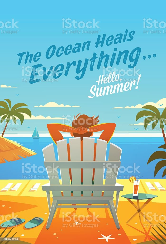 Summer Holidays. The man in a lounge chair. Sunny oceanview vector art illustration