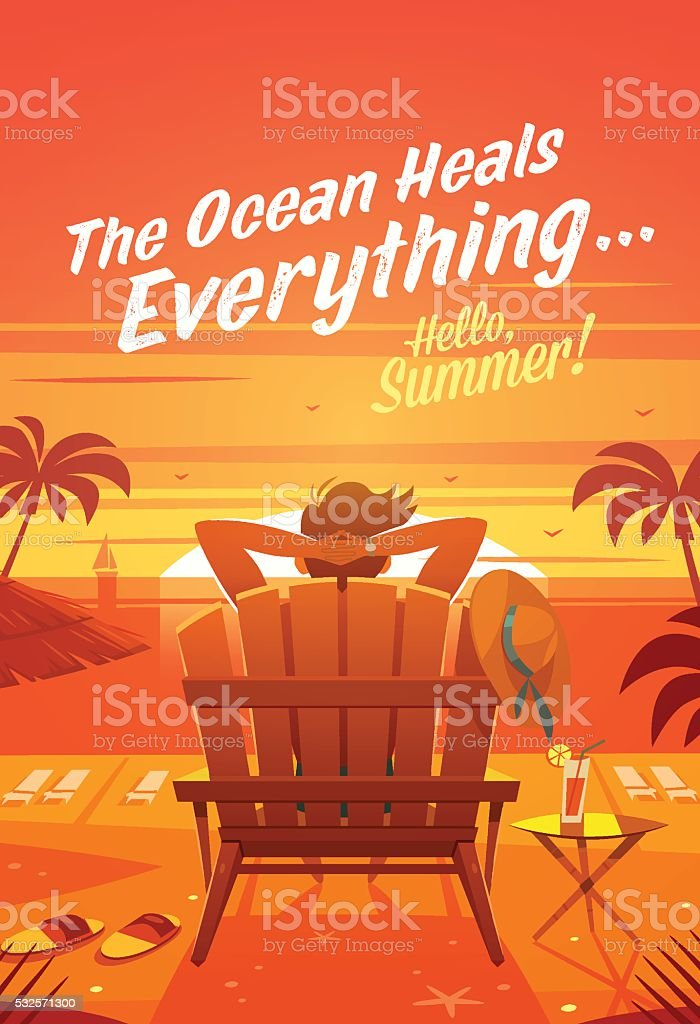 Summer Holidays. The man in a lounge chair. Sunset oceanview vector art illustration