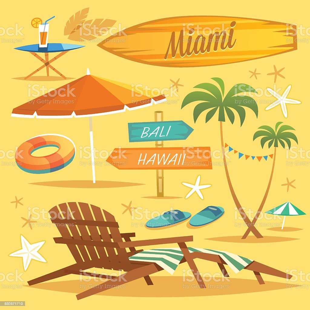 Summer Holidays. The tropical island in the ocean. vector art illustration