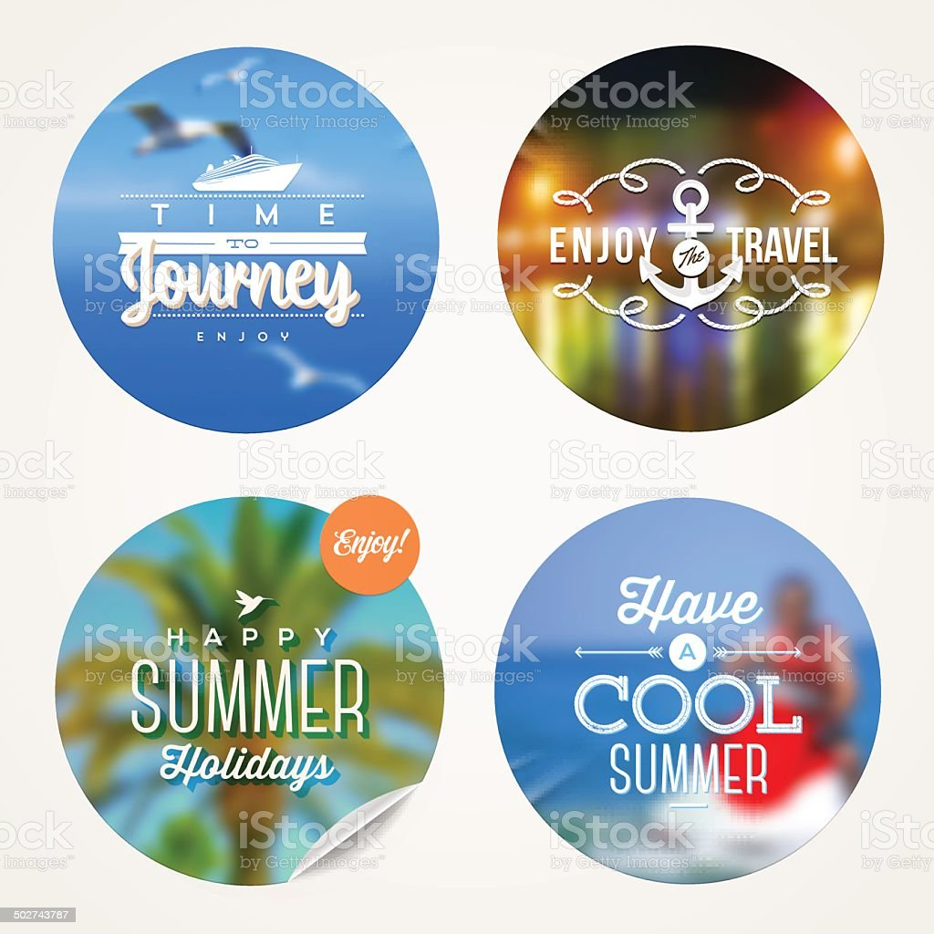 Summer holidays, travel and  vacation - set of colorful sticker vector art illustration