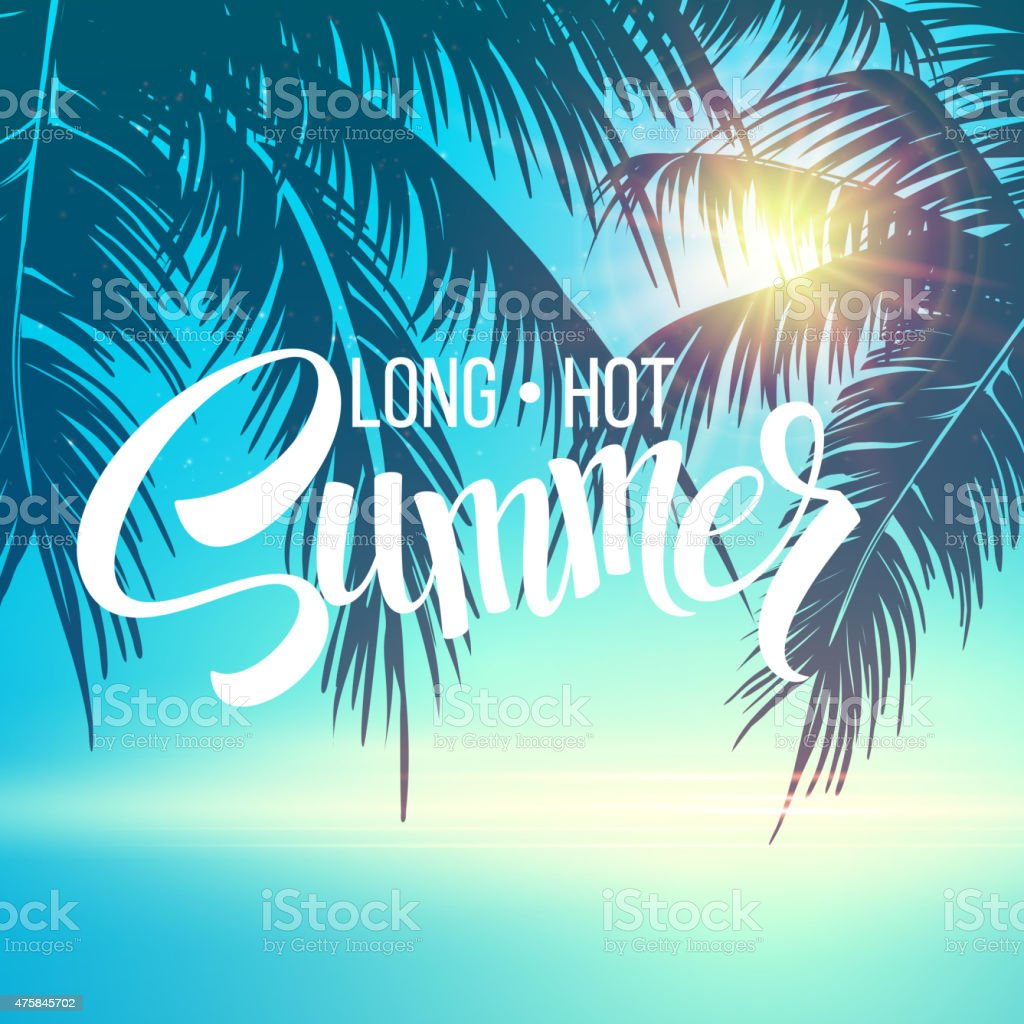 Summer holidays vector background  with palm leaves and sea vector art illustration