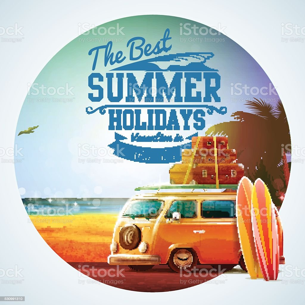 summer holidays vector art illustration
