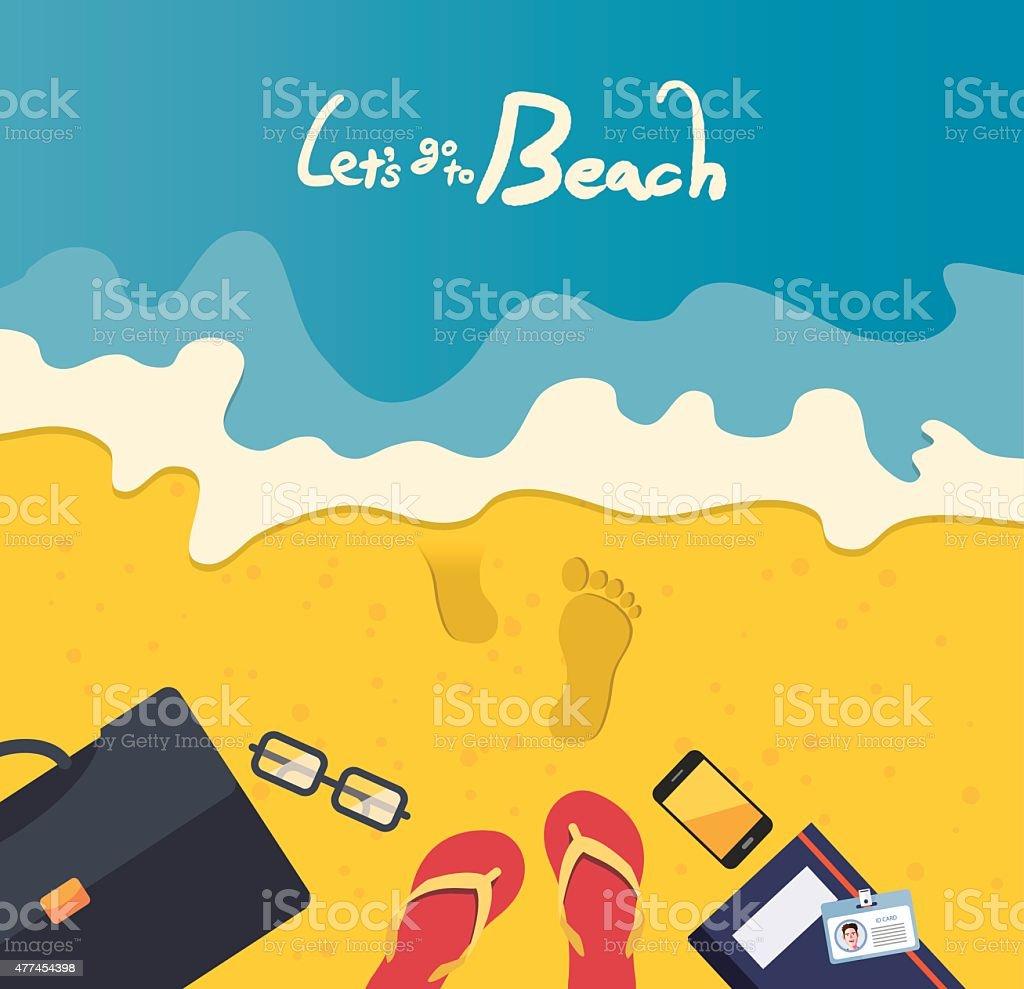 Summer holidays vector illustration,flat design business man, beach concept vector art illustration