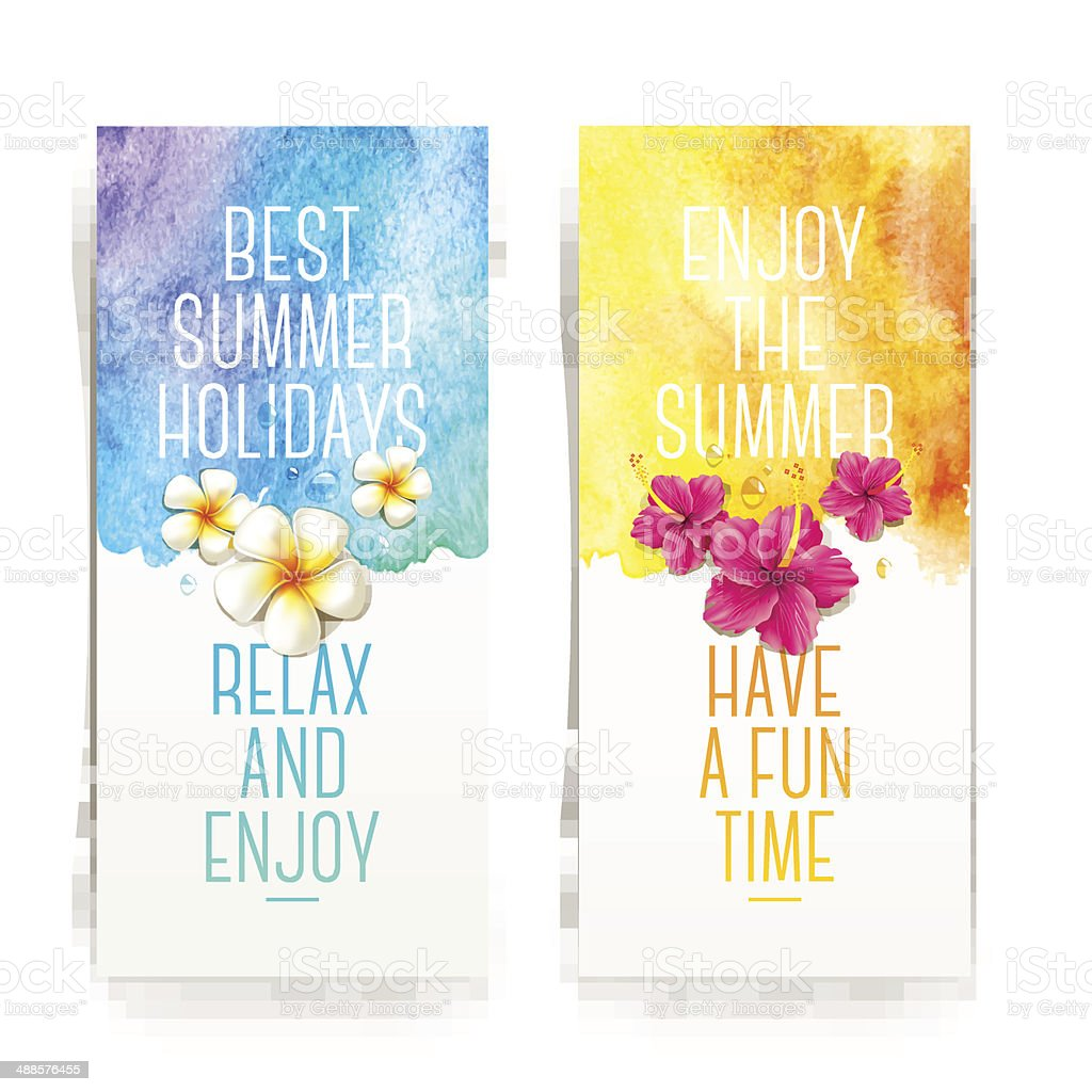 Summer holidays watercolor banners with tropical flowers and summer greetings vector art illustration