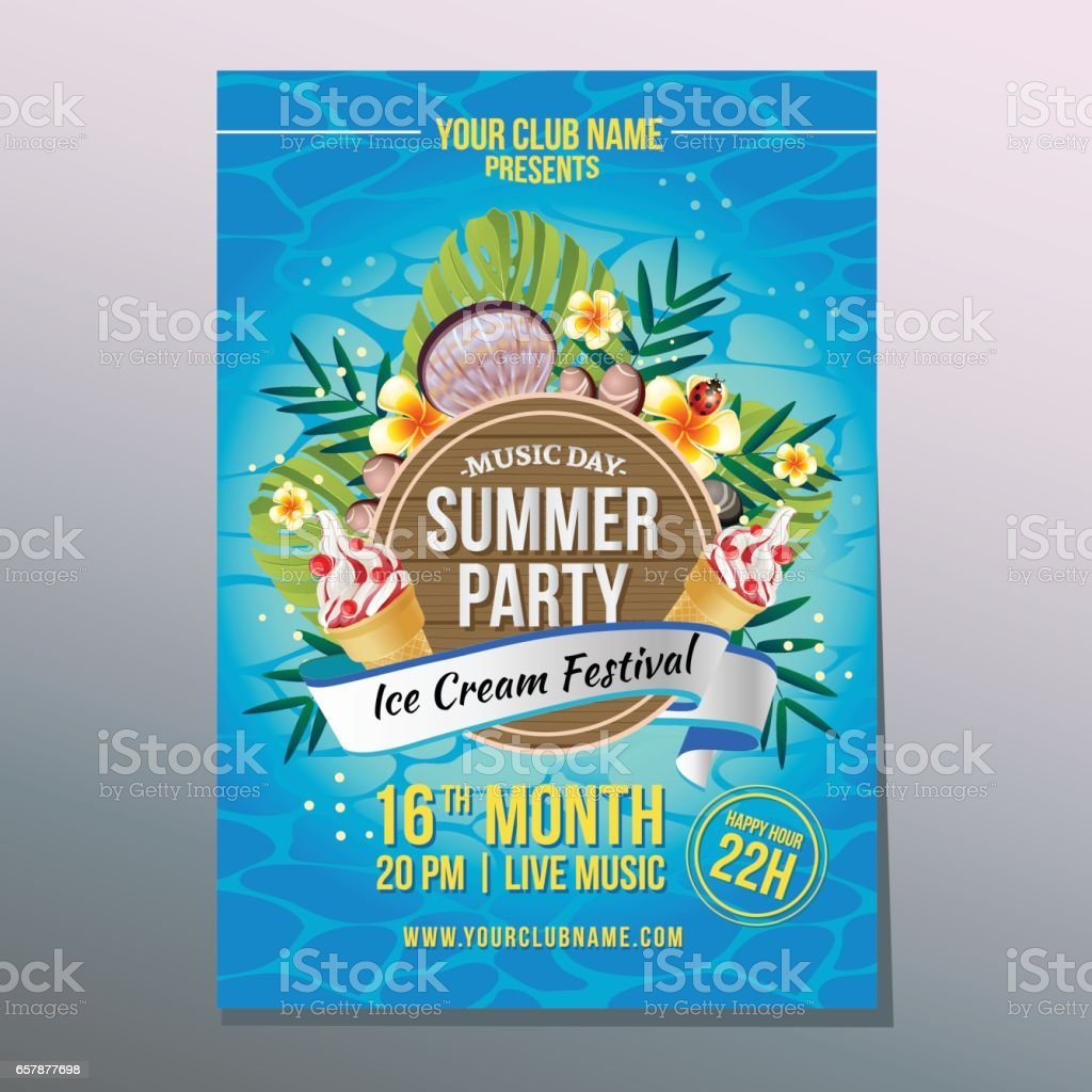 summer ice party poster vector art illustration