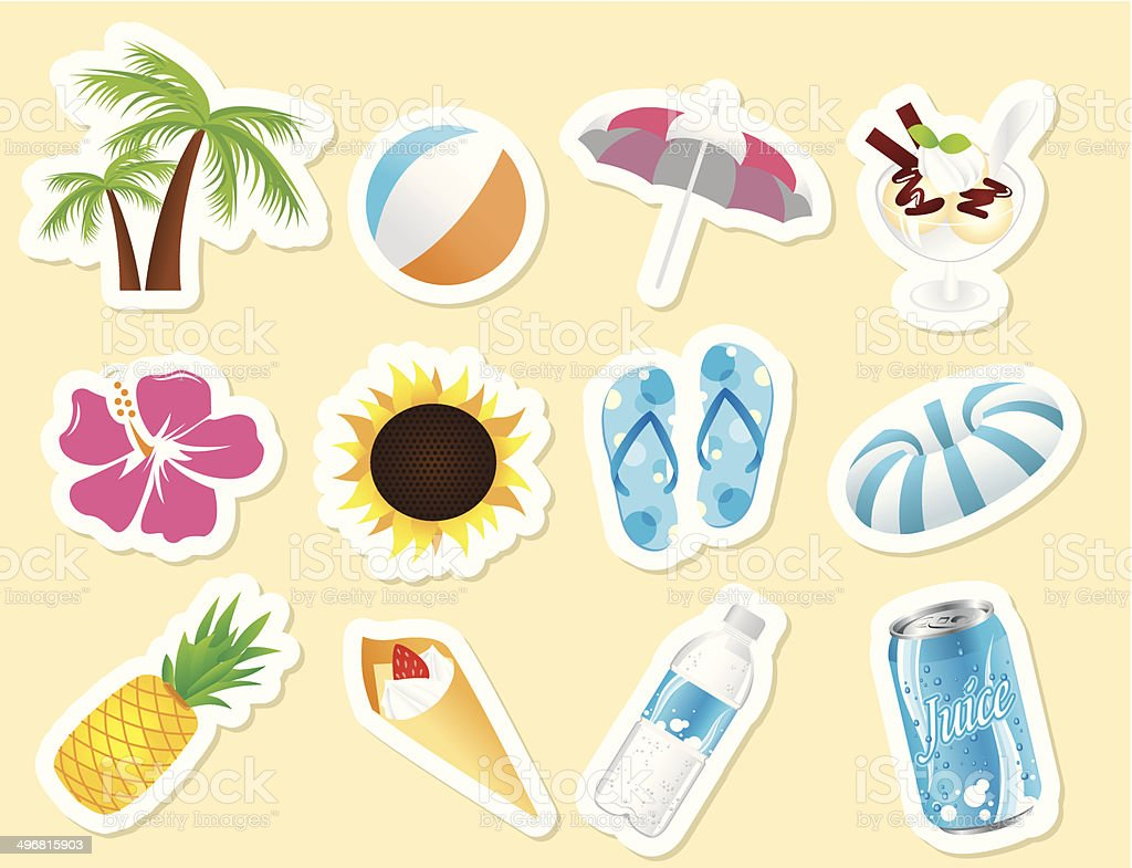 summer icon set Vector vector art illustration