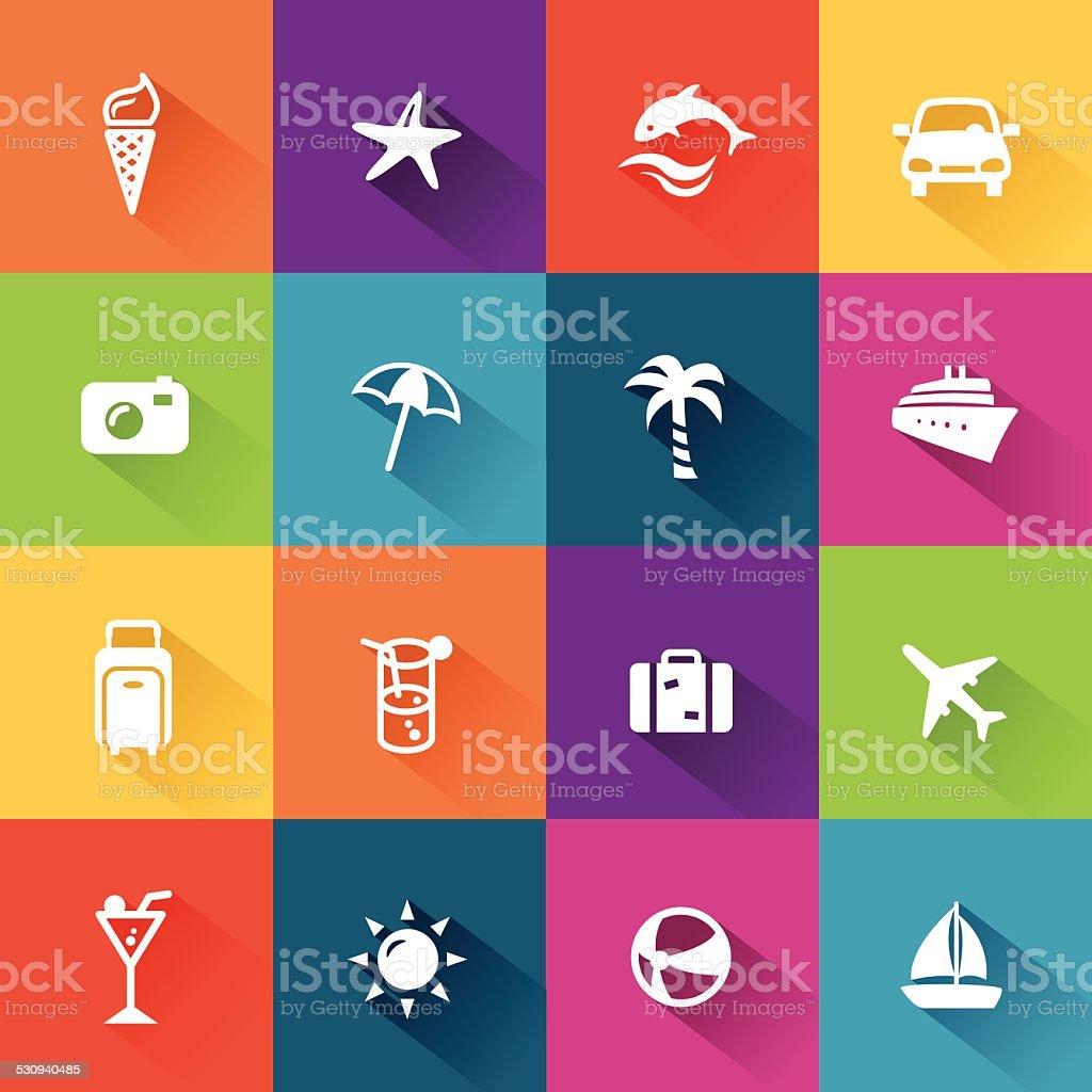 Summer Icons Flat Design vector art illustration