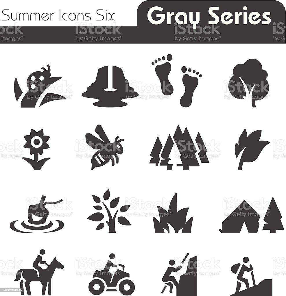 Summer Icons Four gray series vector art illustration