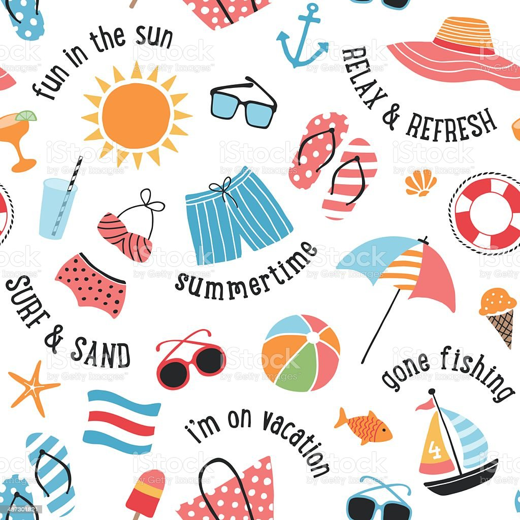 Summer Icons Seamless Pattern vector art illustration
