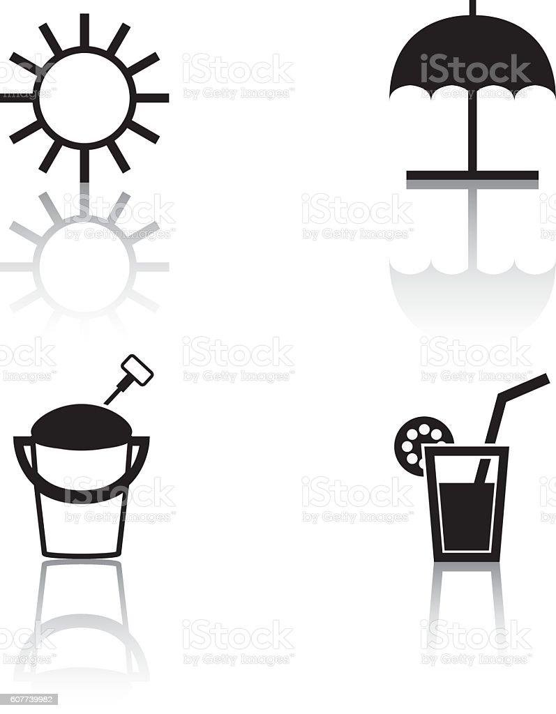 Summer Icons vector art illustration