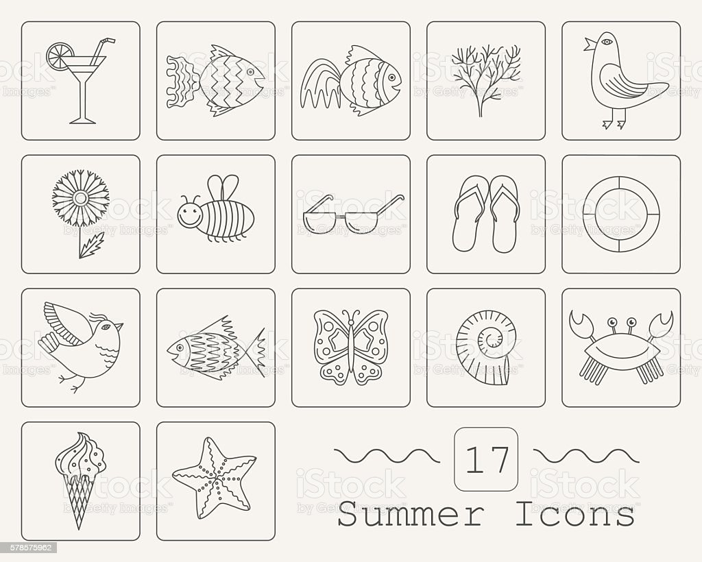 Summer Icons with White Background royalty-free stock vector art