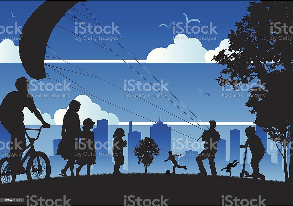 Summer in a city park vector art illustration