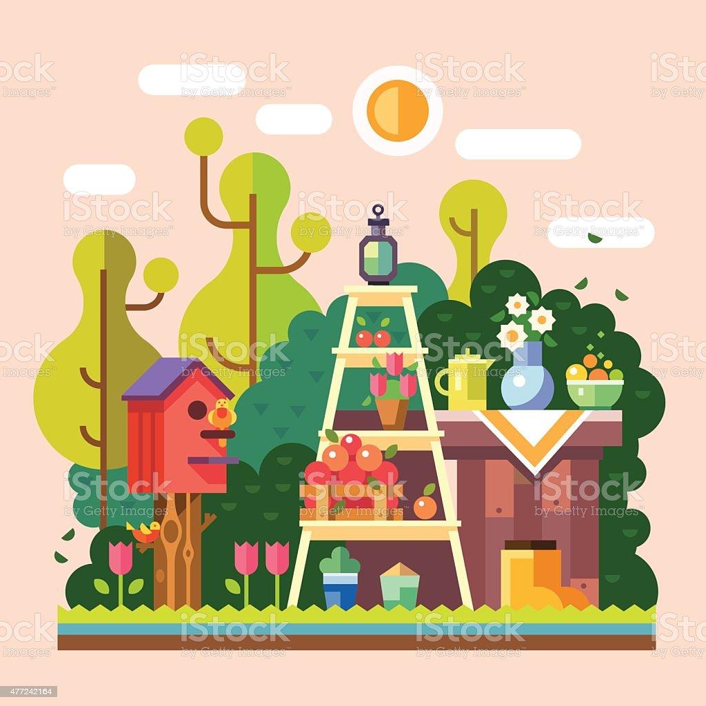 Summer in the garden vector art illustration