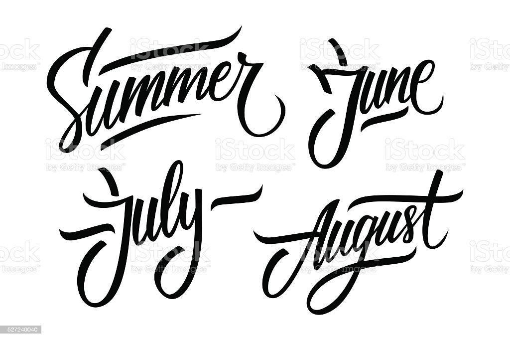 Summer. June, July, August. Summer months lettering. vector art illustration