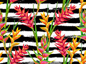 Summer jungle seamless pattern with tropical flowers heliconia
