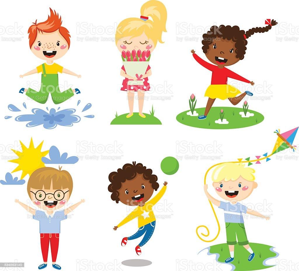 Summer kids vector illustration. vector art illustration