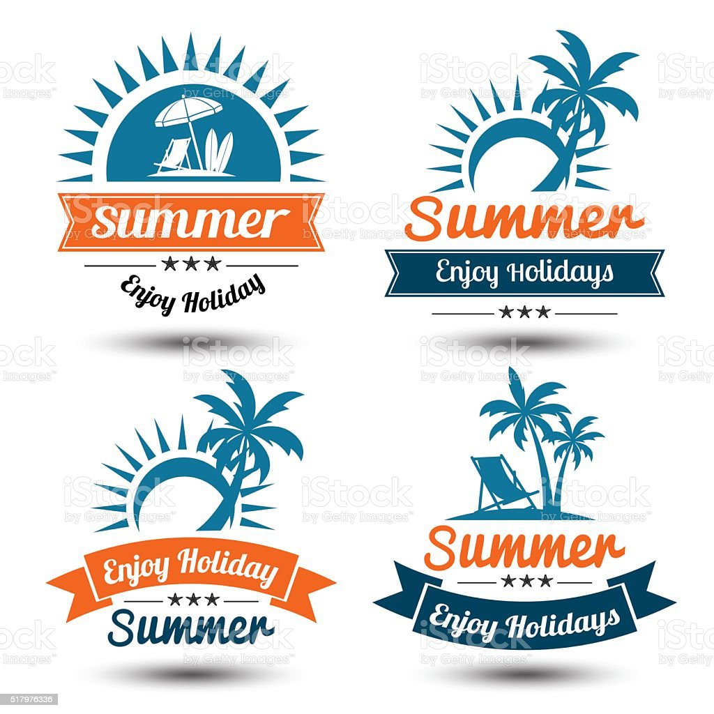 Summer label 2 vector art illustration