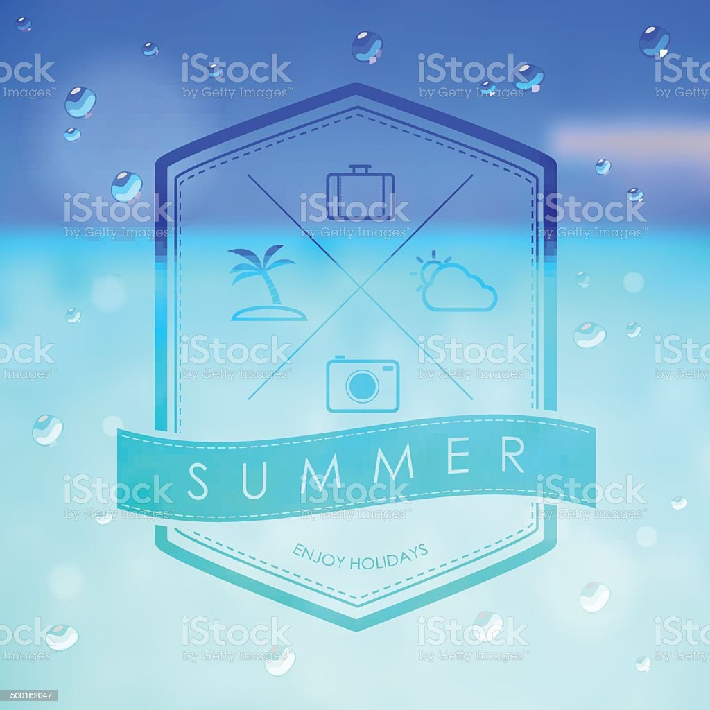 summer label and travel icon on summer beach background royalty-free stock vector art