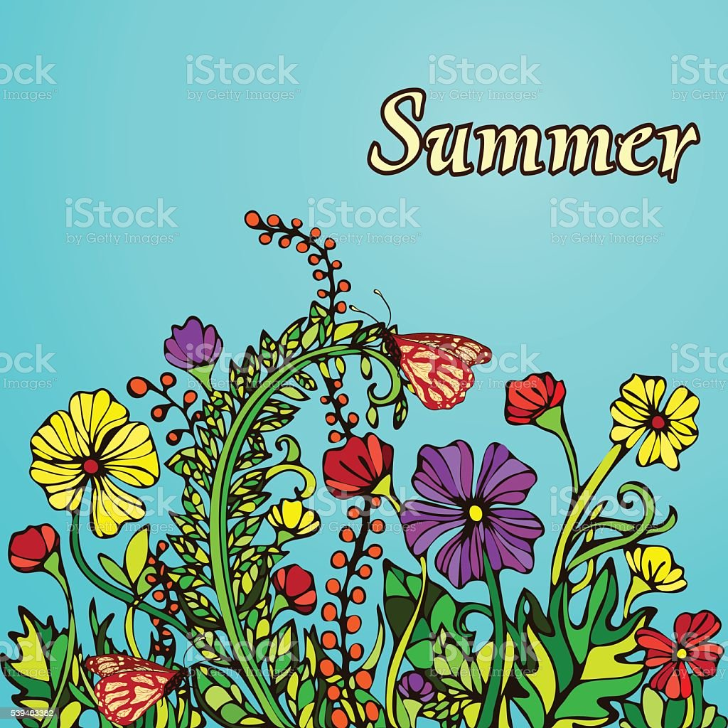 Summer landscape in the style boho chic, hippie, card, cover royalty-free stock vector art