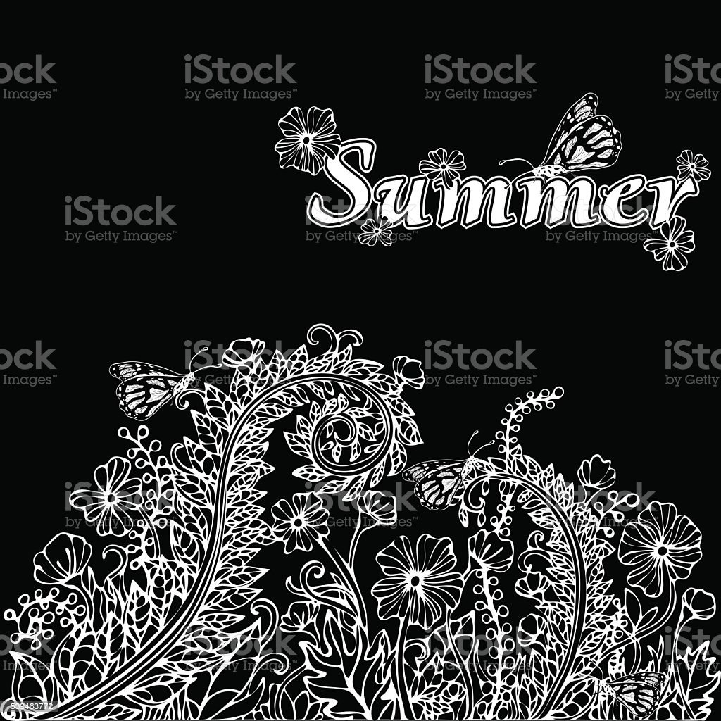 Summer landscape in the style of boho chic, hippie, card royalty-free stock vector art
