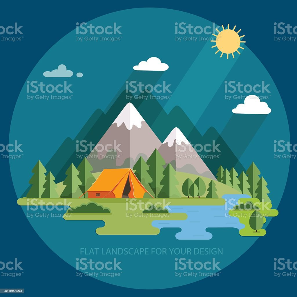 summer  landscape. Morning landscape in the mountains. Hiking and camping. vector art illustration