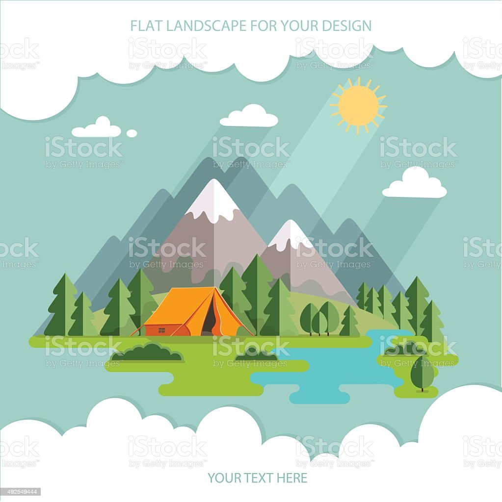 summer  landscape. Morning landscape in the mountains. Hiking and camping vector art illustration