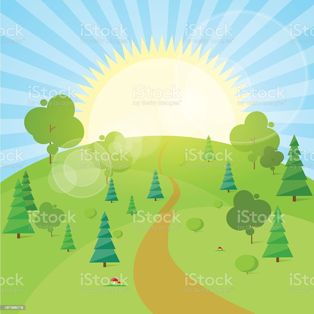Summer Landscape Mountain Forest Road Blue Cloud Sky With Sun vector art illustration