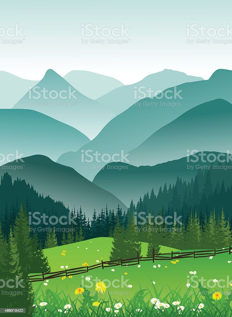 Summer landscape of foggy mountains and valley with meadow flowers vector art illustration